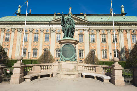 gustaf: Stockholm, Sweden - April 28, 2011: Exterior of Gustaf Vasa statue in front of the House of Nobility in Stockholm, Sweden.