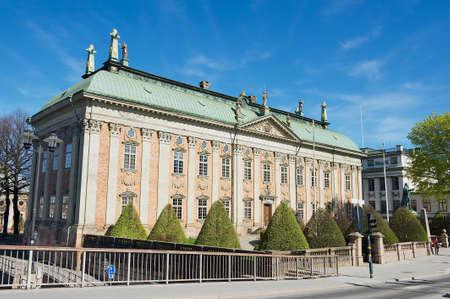 gustaf: Stockholm, Sweden - April 04, 2011: Exterior of the House of Nobility and statue of Gustaf Eriksson Vasa in Stockholm, Sweden.