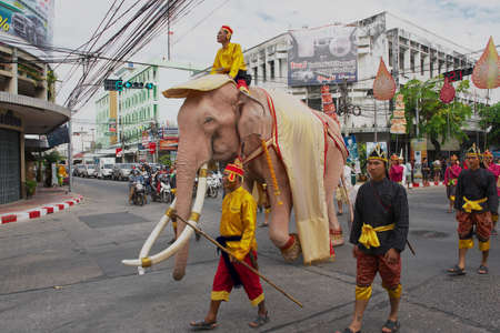 isaan: Surin, Thailand, November 15, 2013 - People take part in the famous Elephant parade in Surin, Thailand. Editorial