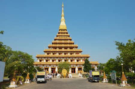 golden temple: Khon Kaen, Thailand - April 12, 2010: Exterior of the Phra Mahatat Kaen Nakhon temple in Khon Kaen, Thailand.