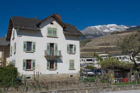 brig: Brig, Switzerland - April 08, 2011: View to old residential building in Brig Brig-Glis, Switzerland. Editorial