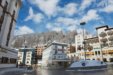 st: St. Moritz, Switzerland - March 06, 2009: View to the street of St. Moritz, Switzerland. St.Moritz is the famous ski resort in Switzerland.