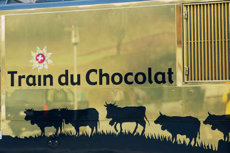 montreux: Montreux, Switzerland - December 11, 2009: Exterior detail of the railway locomotive painted in Train of Chocolate design in Montreux, Switzerland.