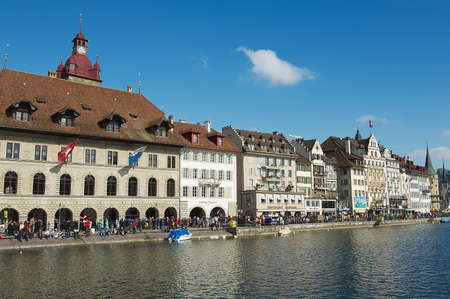 the medieval: Lucerne, Switzerland - February 20, 2012: View to the historical buildings in Lucerne, Switzerland.
