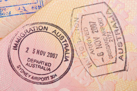 customs official: Passport page with the immigration control of Australia stamps.