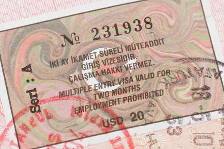 foreign national: Passport page with Turkey visa and immigration control stamp.