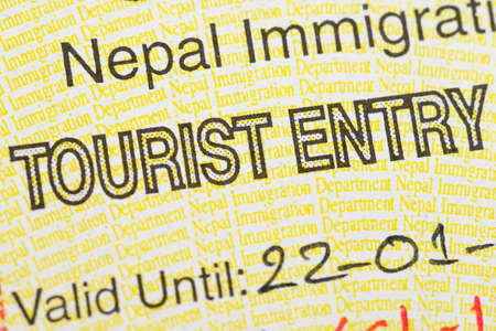 foreign national: Fragment of the Nepal tourist entry visa.
