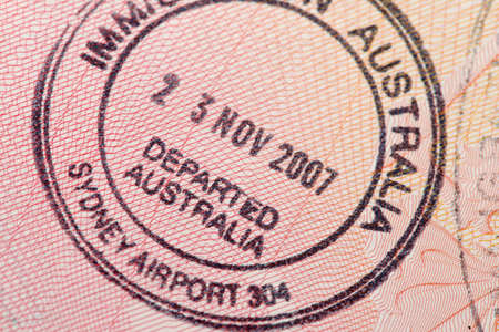 australia stamp: Passport page with the immigration control of Australia stamp.