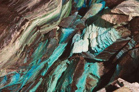Abstract texture of the oxidated copper on the walls of the underground copper mine in Roros, Norway.