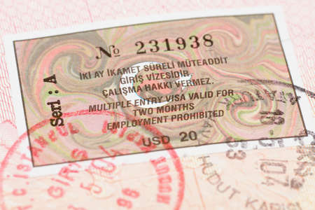 customs official: Passport page with Turkey visa and immigration control stamp.