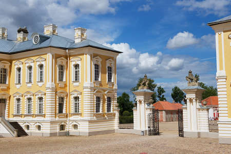 rundale: Pilsrundale, Latvia - July 27, 2015: Exterior of the entrance gate to Rundale palace in Pilsrundale, Latvia. Editorial