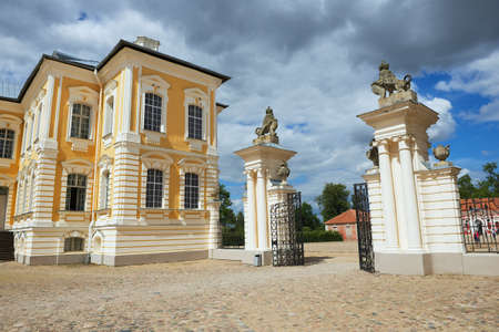 rundale: Pilsrundale, Latvia - July 27, 2015: Exterior of the entrance gate to Rundale palace in Pilsrundale, Latvia. Editorial