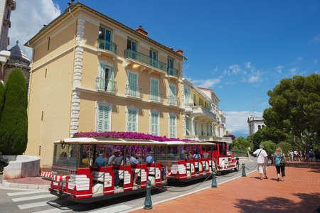 excursion: Monaco, Monaco, July 17, 2015 - People enjoy excursion with the sightseeing train in Monaco, Monaco. Editorial