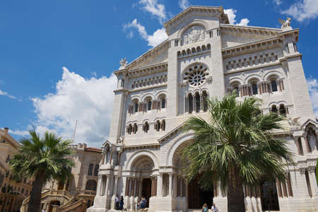 Monaco, Monaco - June 17, 2015: Exterior of the Monaco Cathedral (Cathedrale de Monaco) in Monaco-Ville, Monaco. Its famous for the tombs of Princess Grace and Prince Rainier.