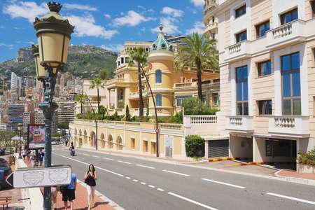 Monaco, Monaco, June 17, 2015 - People walk by the street in Monaco, Monaco.