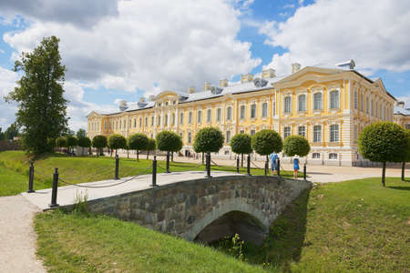 rundale: Pilsrundale, Latvia, July 27, 2015 - People visit the Rundale palace facade in Pilsrundale, Latvia.