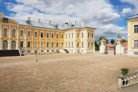 rundale: Pilsrundale, Latvia - July 27, 2015: View to the inner yard of the Rundale palace in Pilsrundale, Latvia.