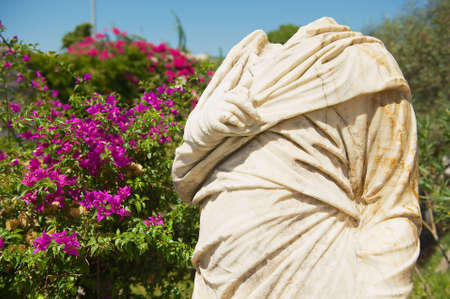 beheaded: Fragment of an ancient roman statue in Bodrum, Turkey.