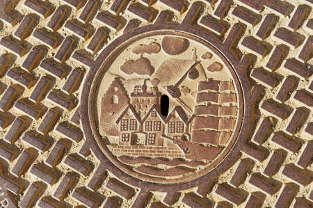 Bergen, Norway - June 06, 2010: Exterior of the traditional sewer manhole in Bergen, Norway.