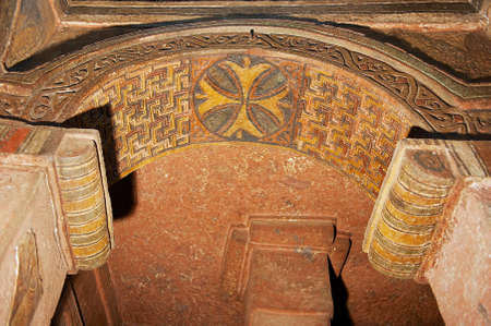Colorful ceiling decoration inside the rock-hewn church in Lalibela, Ethiopia. Editorial