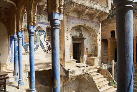 Mandawa, India - March 31, 2007: Interior yard of the haveli in Mandawa, India. Snehi Ram Ladia haveli in Mandawa, Rajasthan was built in the mid 19th century.