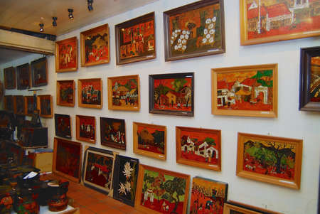 Ho Chi Minh, Vietnam - February 08, 2007: Traditional Vietnamese lacquerware works on display in a shop in Ho Chi Minh, Vietnam. Editorial