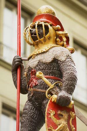 s, 2012: Exterior detail of the Zahringerbrunnen statue - Warrior Bear Fountain in Bern, Switzerland.