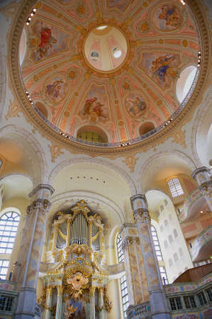 Dresden, Germany - May 18, 2010: Interior of the Frauenkirche cathedral in Dresden, Germany. Frauenkirche originally was built in 1743. Editorial