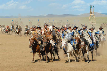 Ulaanbaatar, Mongolia, August 17, 2006 - Mongolian horse riders take part in the traditional historical show of Genghis Khan era in Ulaanbaatar, Mongolia.