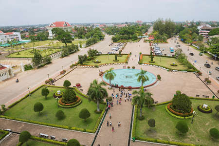 Vientiane, Laos - April 22, 2012: View to the Patuxay Park from the Victory monument in Vientiane, Laos. 報道画像