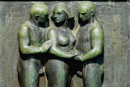 Oslo, Norway - July 06, 2006: Bas-relief made by famous artist Gustav Vigeland in Frogner park in Oslo, Norway.