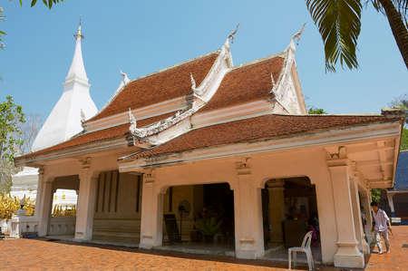 Loei, Thailand - April 18, 2010: People visit Phra That Si Song Rak temple in Loei, Thailand.