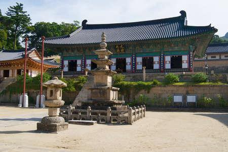 Chiin-Ri, Korea - September 05, 2008: Beautiful Haeinsa temple exterior, Chiin-Ri, Korea. Jewel of Buddhist temples in Korea, home for the Tripitaka Koreana and a UNESCO World Heritage site.