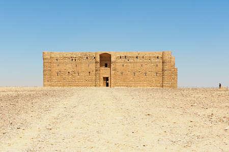 Amman, Jordan - August 23, 2012: Desert castle Qasr Kharana (Kharanah or Harrana) near Amman, Jordan. Built in 8th century, used as caravanserai.