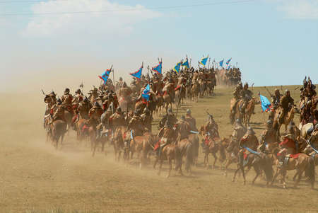Ulaanbaatar, Mongolia - August 17, 2006: Unidentified Mongolian horse riders take part in the traditional historical show of Genghis Khan era in Ulaanbaatar, Mongolia. Editorial
