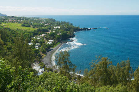 View to the sea coast at Reunion island, France.