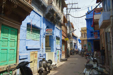 Jodhpur, India - April 06, 2007: View to the historical traditionally blue painted old residential area buildings in downtown Jodhpur, India.
