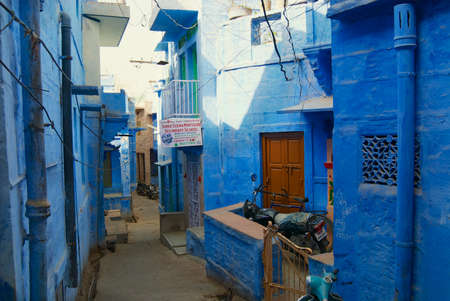 Jodhpur, India - April 06, 2007: Historical traditionally blue painted old residential area buildings in Jodhpur, India.