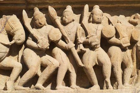Sculptures at Vishvanatha Temple at the  Western temples of Khajuraho in Madhya Pradesh, India.