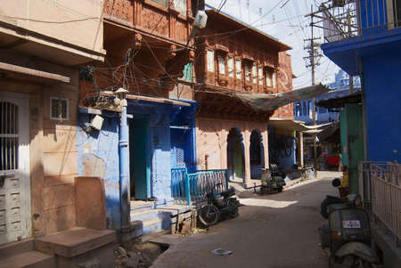 Jodhpur, India - April 06, 2007: View to the historical traditionally blue painted old residential area buildings in Jodhpur, India.