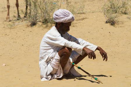 Jamba, India - April 02, 2007: Unidentified camel desert in Jamba, India.