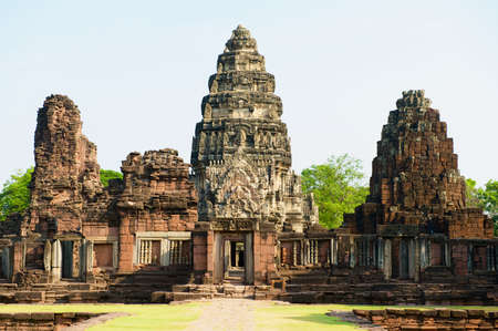 Ruins of the Hindu temple in the Phimai Historical Park in Nakhon Ratchasima, Thailand. It is one of the most important Khmer temples in Thailand. Фото со стока
