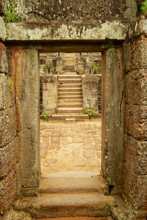 Staircase at the ruins of the East Mebon Temple in Siem Reap, Cambodia.