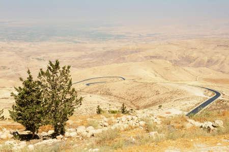 Desert mountain landscape seen from Mount Nebo, Jordan. 写真素材