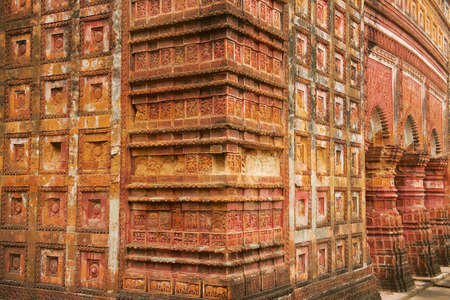 Rich decorated with terracota tiles facade of the Pancharatna Govinda Temple in Putia, Bangladesh.