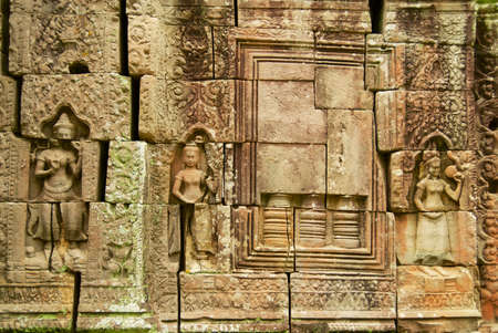 Stone carvings at the ruins of Ta Som temple in Siem Reap, Cambodia.