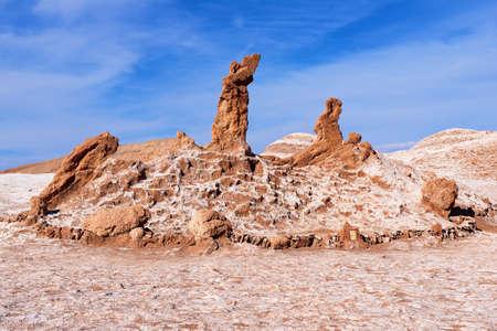 Las Tres Marias (Three Marias) salt and clay rock formation formed by natural erosion in Valle de la Luna in San Pedro de Atacama, Chile.
