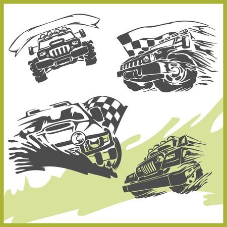 autosport: 4x4 Off-Road Symbol.  Illustration .Vinyl-Ready.