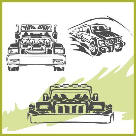 autosport: 4x4 Off-Road Symbol. Illustration .Vinyl-Ready. Illustration