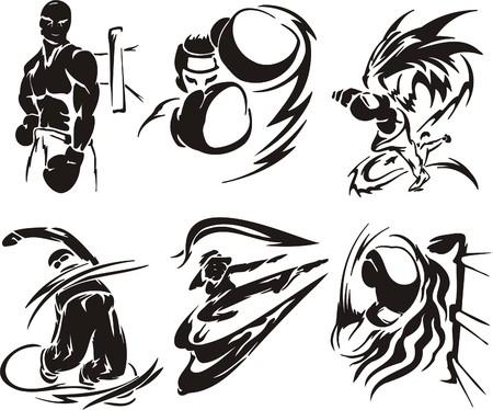 agression: Boxe et karat�. Sport extr�me. illustration. Vinyl-ready.